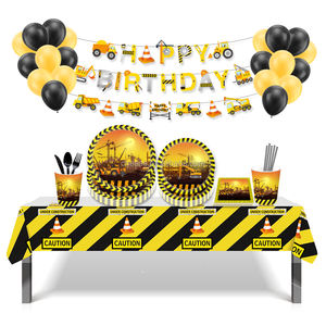 Huancai birthday party set decorations excavator banner truck paper plates Construction table cloth paper straws latex balloons
