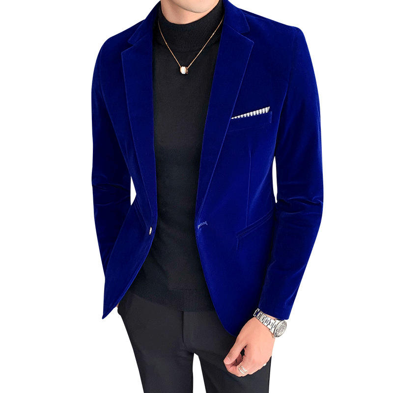 Business skinny style softer velvet slim fit jackets mens blazers homme casual man suits velour custom logo