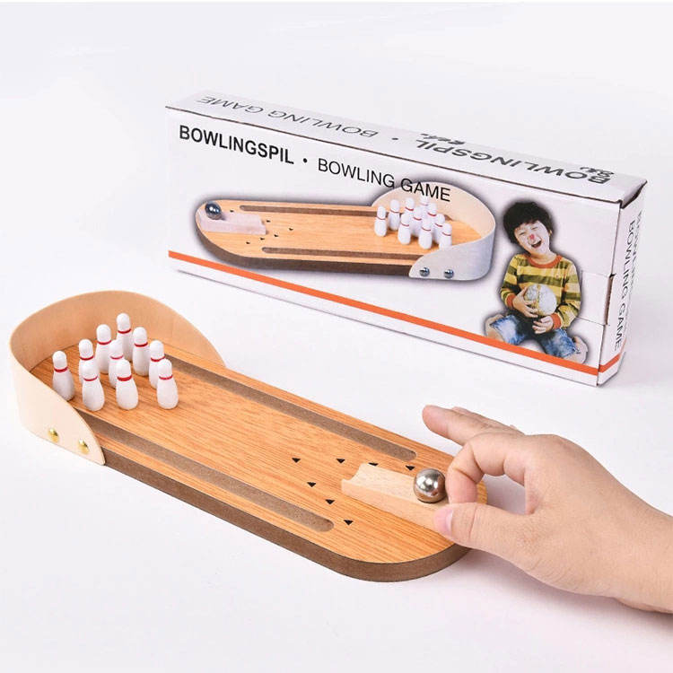 Sports Game Toy Play set Wooden Desktop Bowling Table Game for Kids
