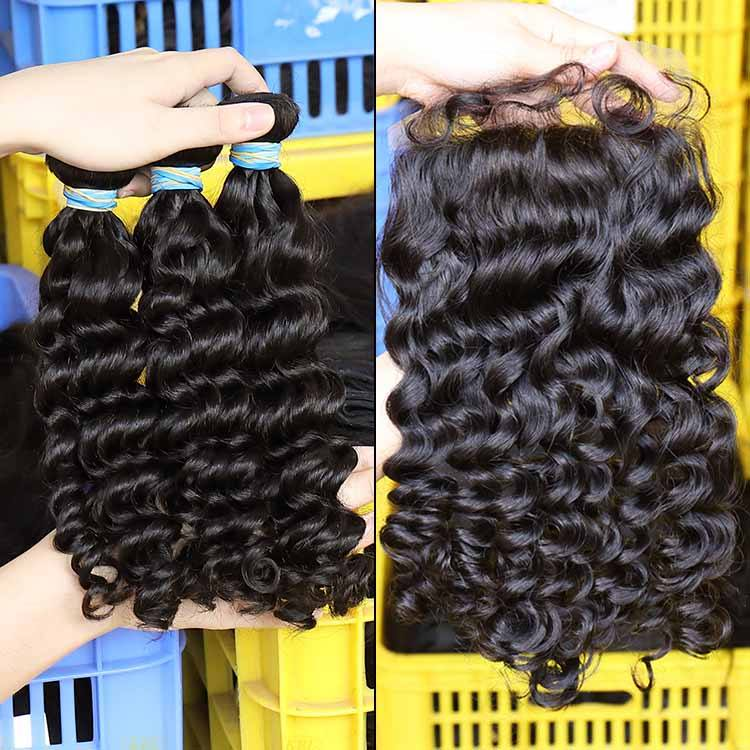 kabeilu Cuticle Aligned Brazilian Deep Wave Human Remy Virgin Hair 12A 3 Bundles With Natural Color With Swiss Lace Closure