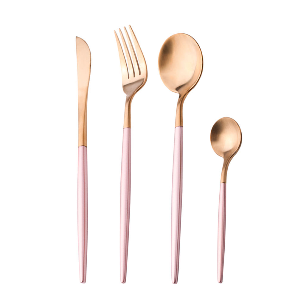 YIJIA 4 pcs/set Rose Gold Plated Portuguese Tableware Pink Purple Matte Silverware Set Western Stainless Steel Cutlery Gift Set
