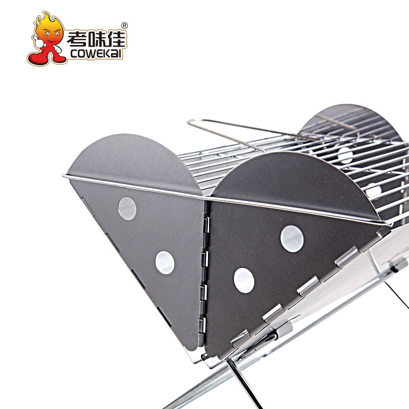 Outdoor Mini Stainless Steel Camping Charcoal BBQ Skewer Meat Machine Smoker Japanese Barbecue Grills
