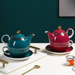 Personalized europe fancy coffee teapot with cup saucers / afternoon bone china wholesale tea set