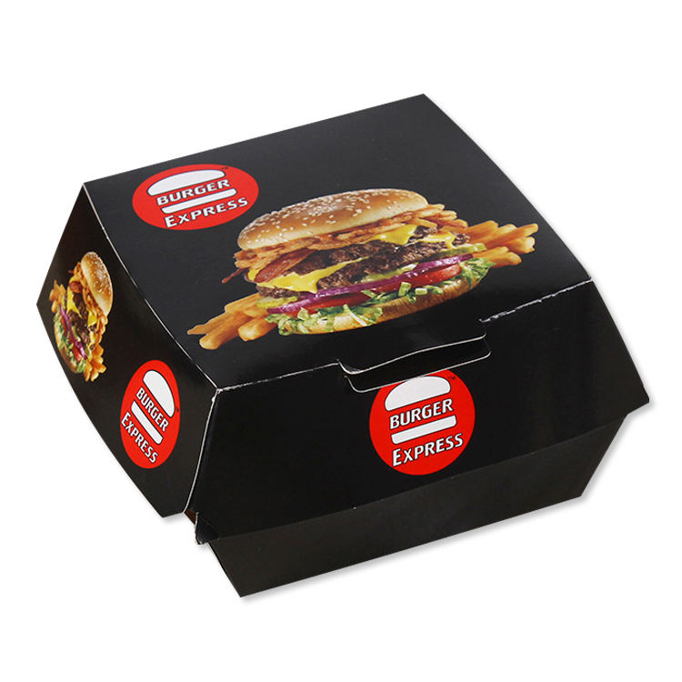 eco custom luxury printing burger box black disposable pizza food paper packaging box
