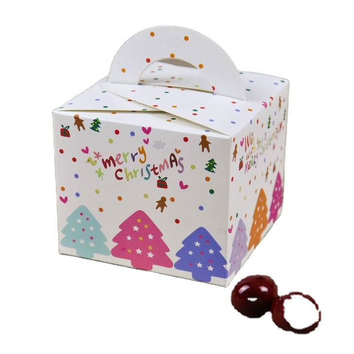 Custom logo print recycle small paper packaging box for candy with handle