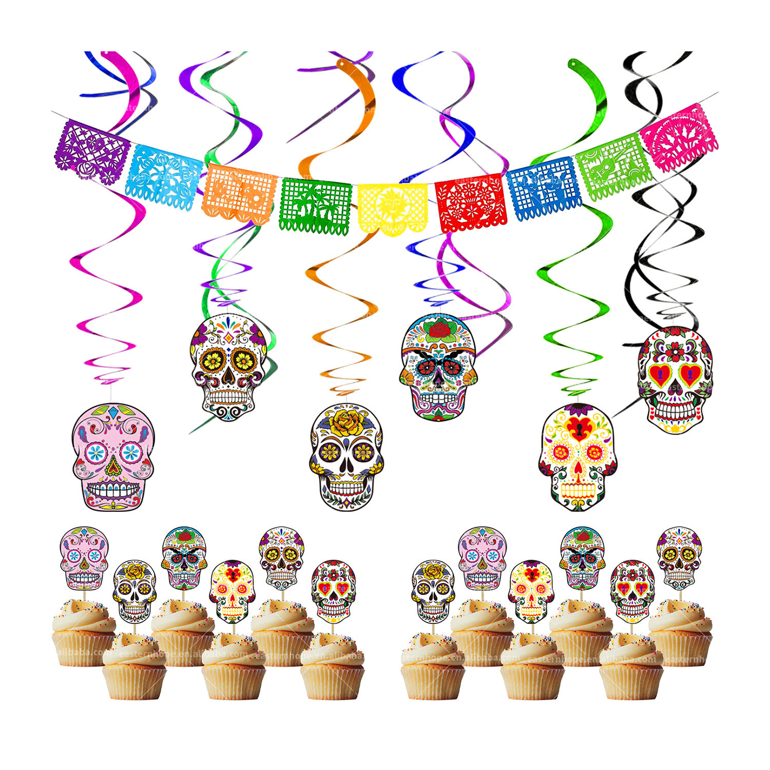 Fiesta Hanging Swirl Decorations Mexican Party Foil Hanging Day of the Dead Theme Decorations