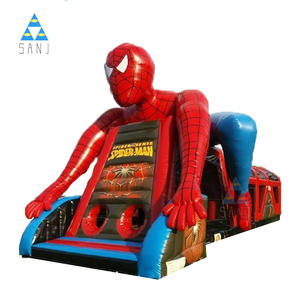 Christmas Commercial Cheap Outdoor Dragon Spiderman Bouncer Adult Kids Inflatable Race Obstacle Course Game For for Kids Sale