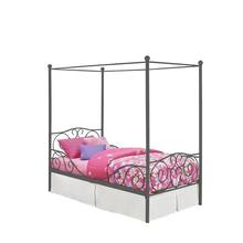 Factory price wholesale modern heart scroll design makes great child's dream metal canopy bed