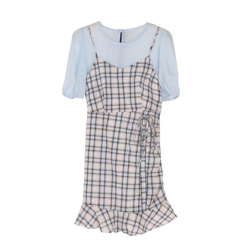 Dress elegant fashion short sleeve chiffon ladies casual summer plaid skirt manufacturer custom wholesale