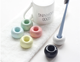 European style multi-colored round small toothbrush holder set ceramic toothbrush holder for bathroom