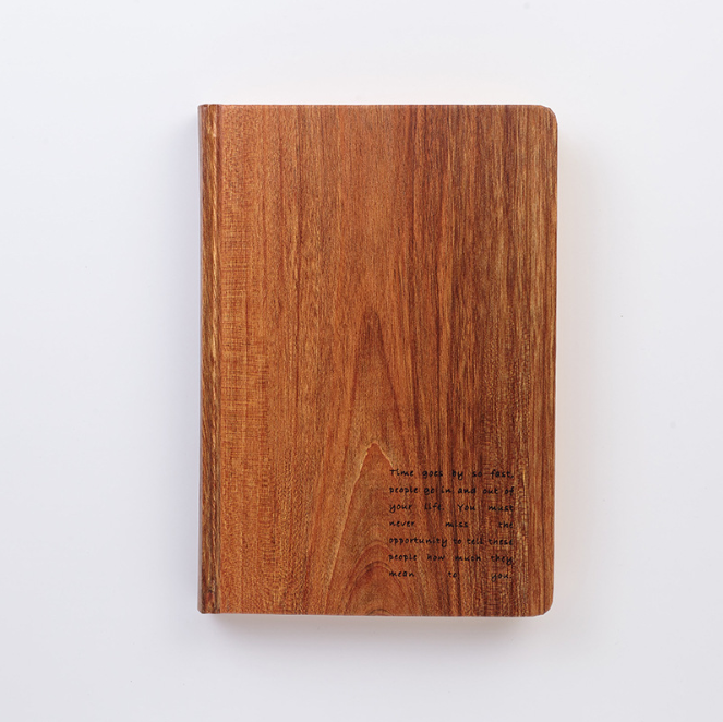 Customized wood grain paper hard cover bamboo notebook