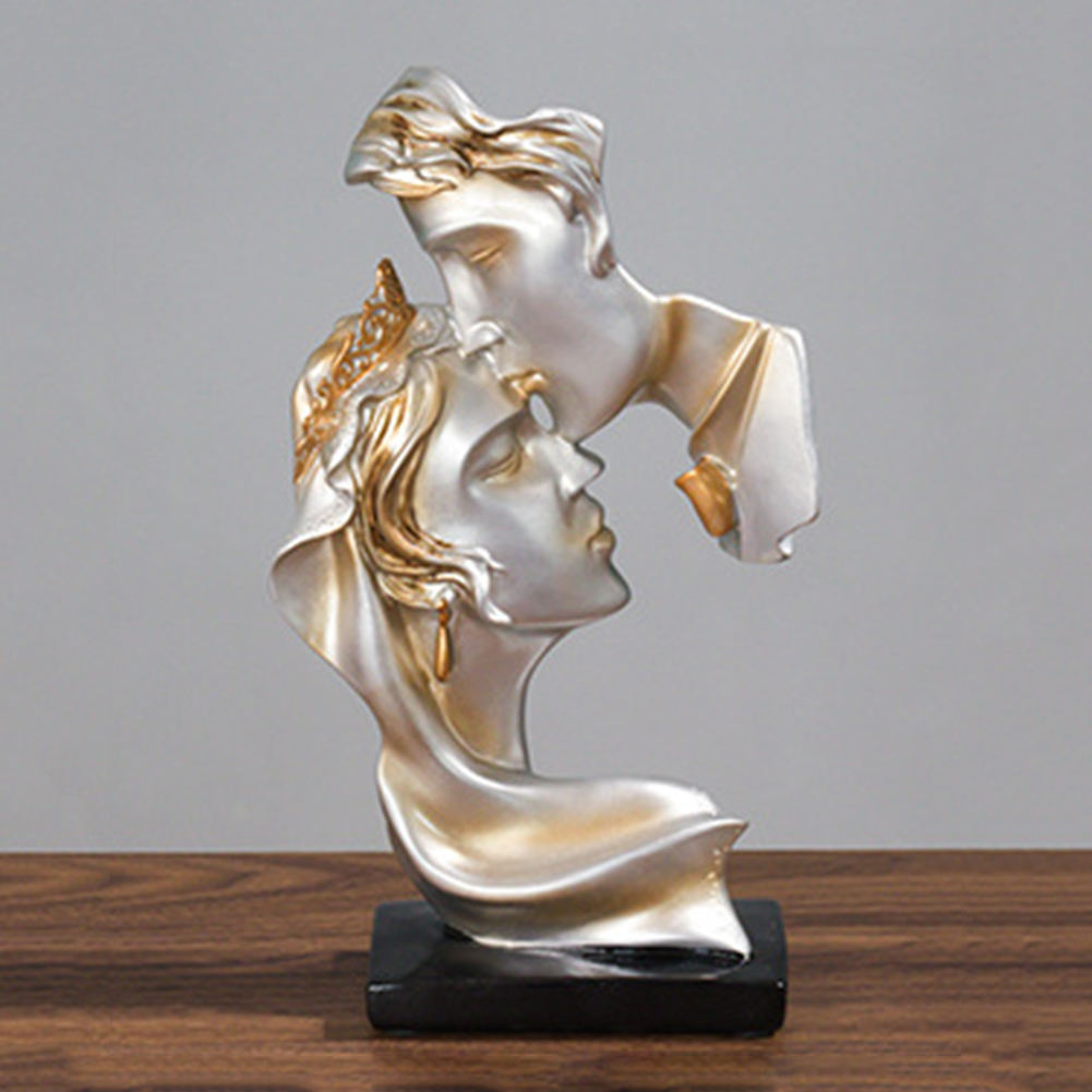 Resin Sculpture Passionate Kiss Sculpture Home Decor Nordic Ornament Gift for Valentine's Day Wedding