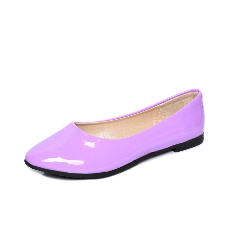 Wholesale Summer Flat Biggest Size Single Shoes Light Candy Color Feet Patent Leather Round Head Flat Women's Shoes