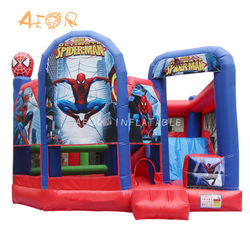 spiderman inflatable castle and slide combo inflatable kids bouncer for sale
