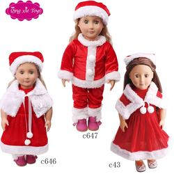 18 inch American doll clothes accessories red christmas clothes