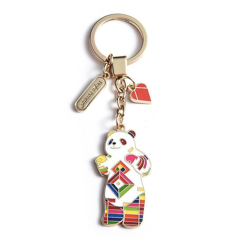 Shtone Wholesale New Design Metal 3D Personalized Animal Panda Keychains