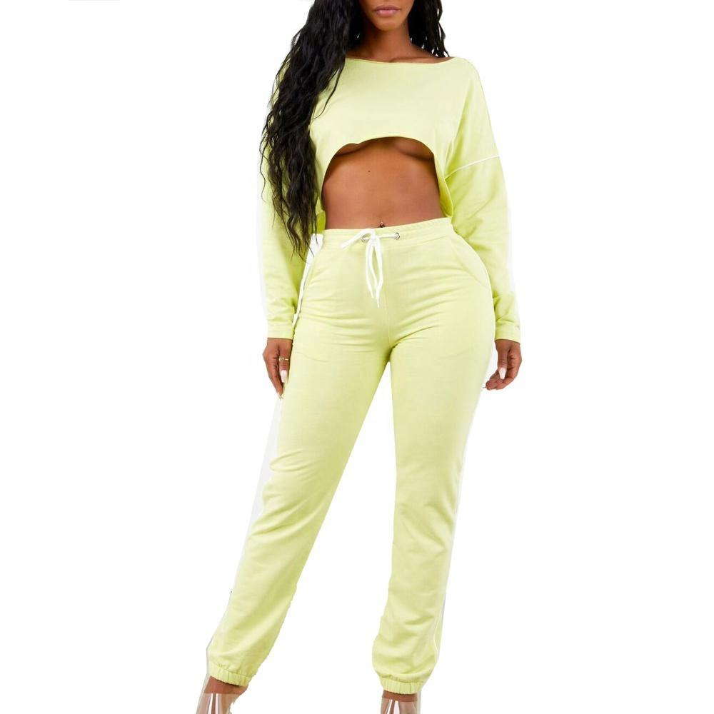 Manufacturer Custom Cotton Polyester French Terry Crop Top Jogger 2 Pieces Sets Jogging Suits for women
