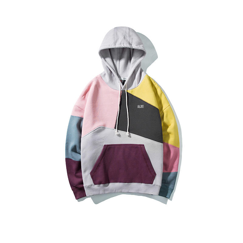 100% Cotton Sweatshirt Different Color Block Hoodies With Hood