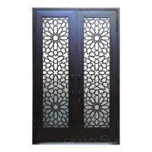 Commercial temper glazed black wrought iron french doors for entrance