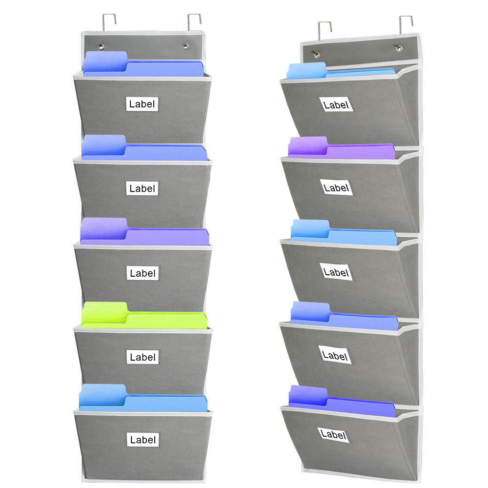 5 Extra Large Pockets storage Holder Pocket Chart for Magazine Document Over the door cabinet wall mounted file organizer