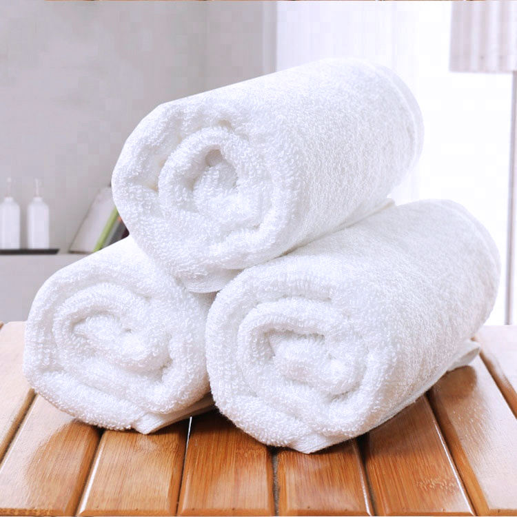Luxury 16S 100% Cotton White Woven Hotel Face Cloth Hand Bath Towel