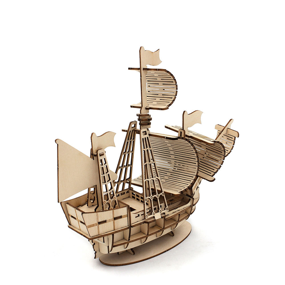 Custom laser cutting manual DIY assembly wooden ship model craft 3d wooden puzzle toy