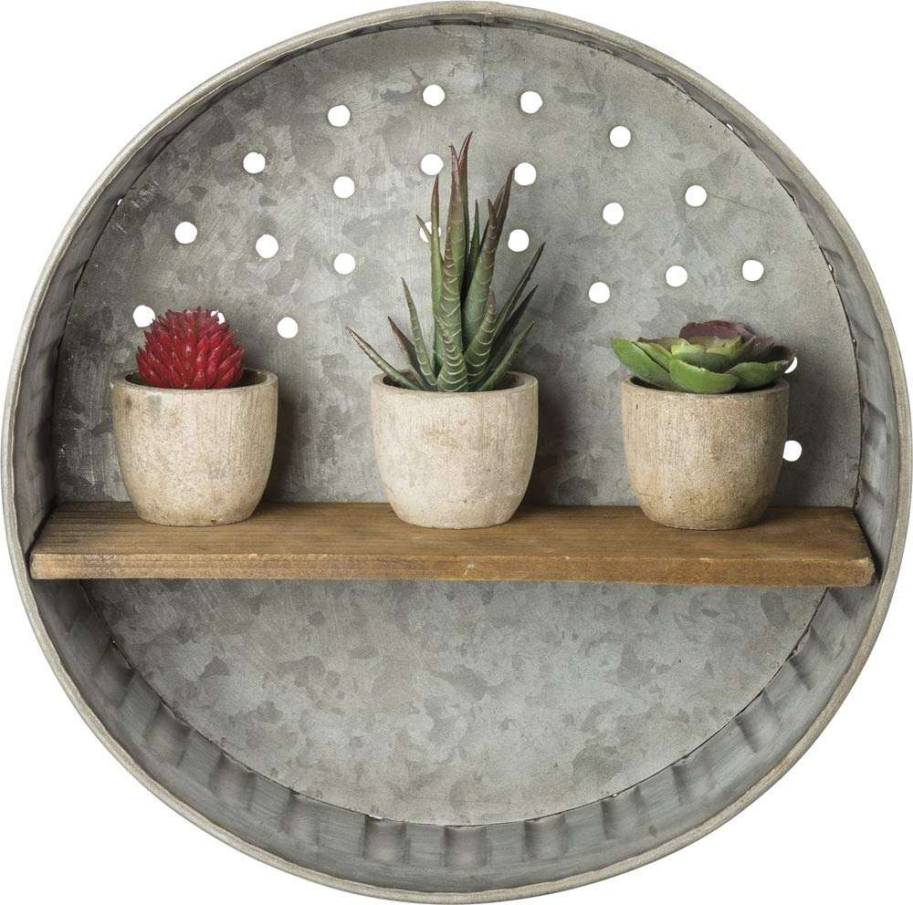 Great Garden or Kitchen Decor Rustic-Inspired Round Distressed Metal Wall Hanging with Wood Shelf