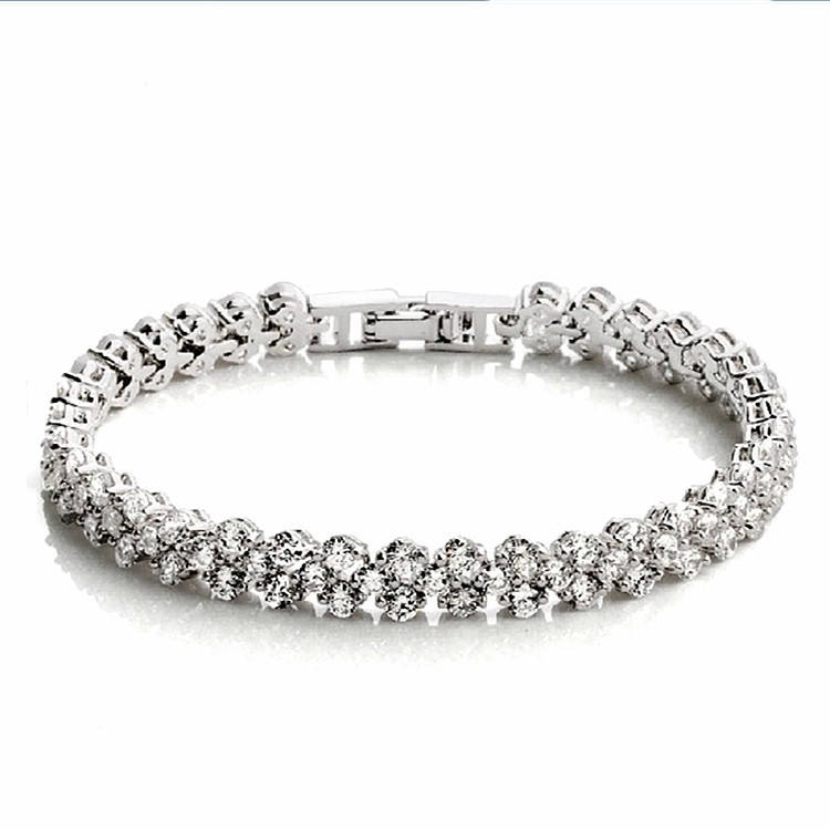 Western Style Luxury Silver Designer Rhinestone Crystal Charm Watch Chain Bracelet for Women and Men
