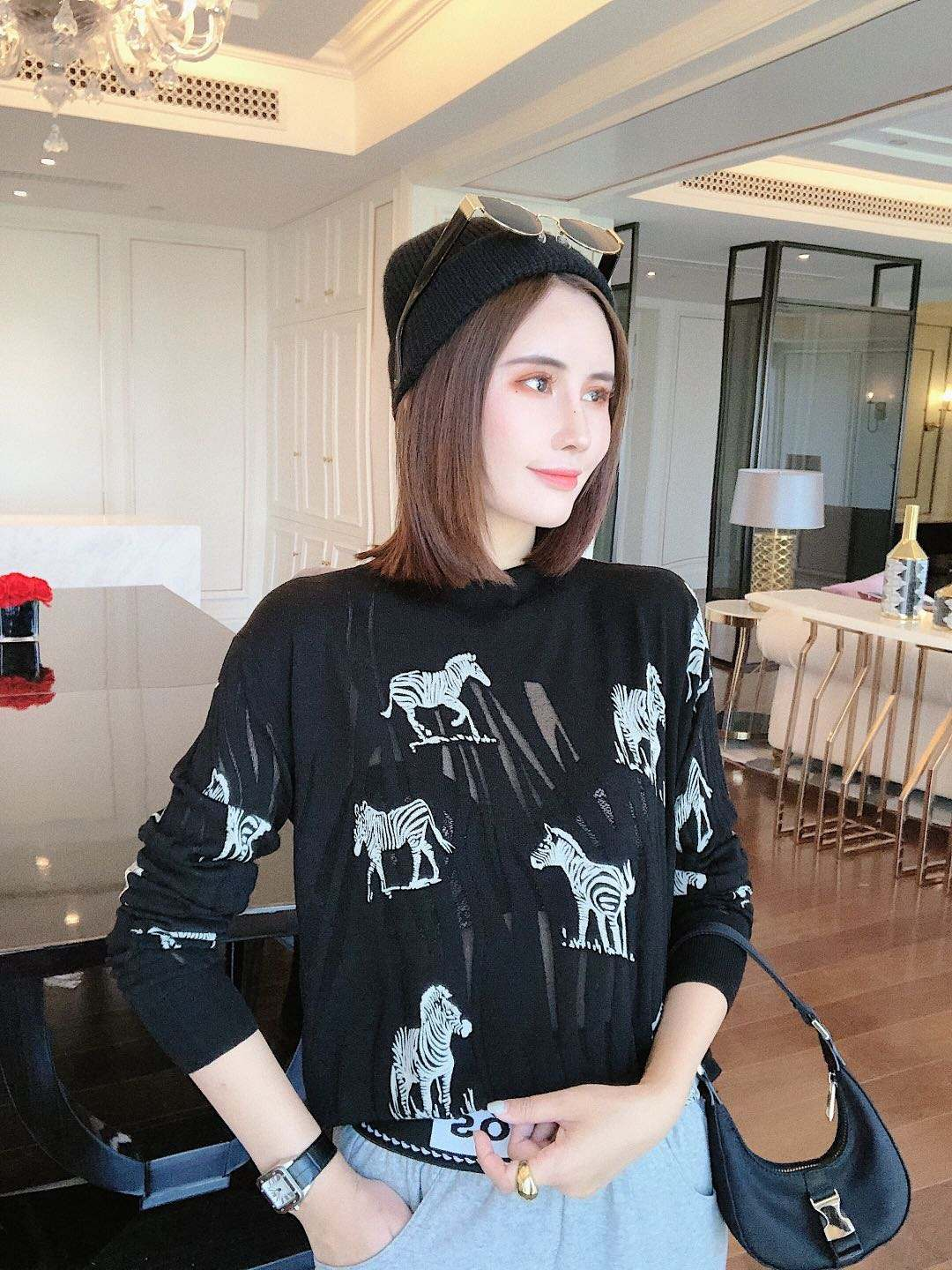 Fashion Women Casual Zebra Pattern Print Long Sleeve 2020 Retro Creative Bamboo Fiber Hollow Out Knitted Pullover