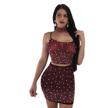 Women's sexy bandage club skirt 3 pcs suit female party Backless dress
