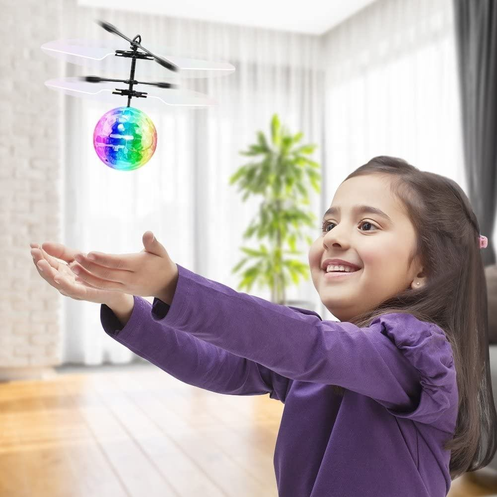 Christmas Gift Infrared Induction Sensing Aircraft Crystal RC Flying LED Disco Ball Helicopter Toys For Kids