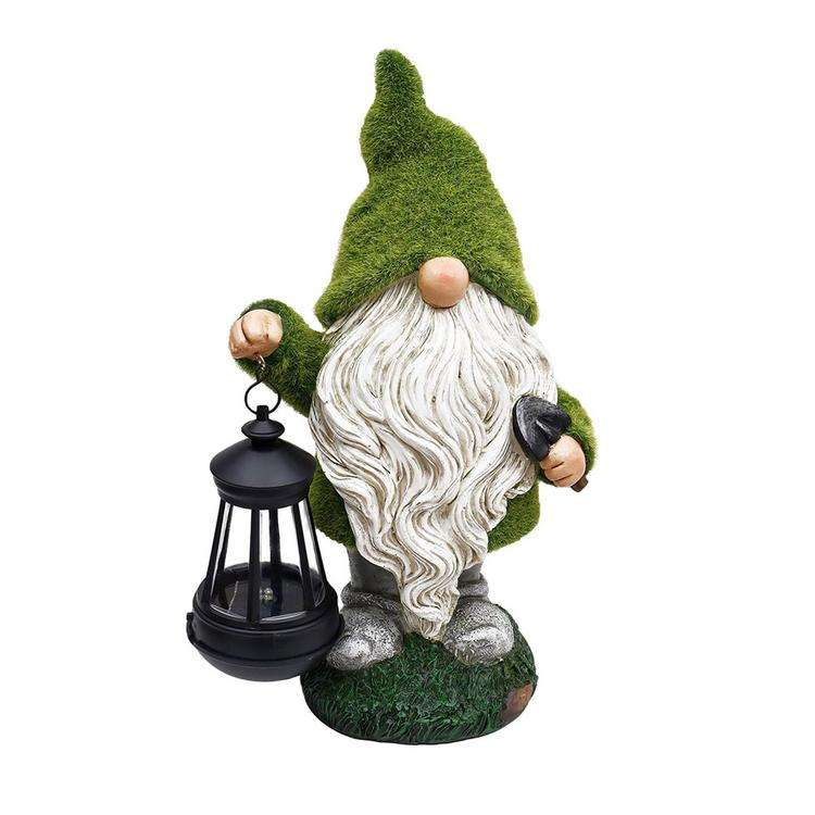 Garden Decorative Dwarf Statue Holding a Solar LED Light Figurine Lamp Gnome Resin Crafts