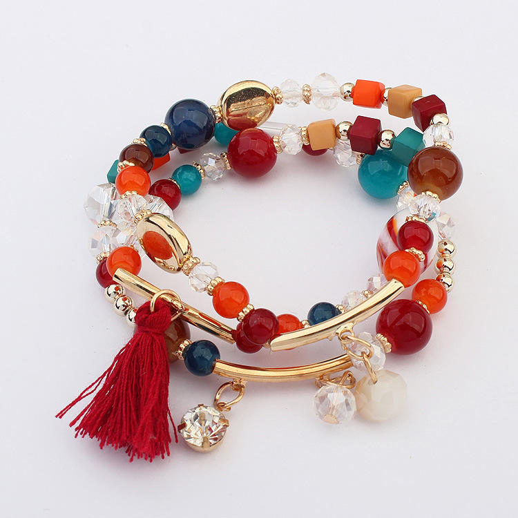 Latest Delicate Design Elastic Multi Layer Colorful Beads Bracelets Adjustable Boho Style Tassel Charm Bracelets For Girls