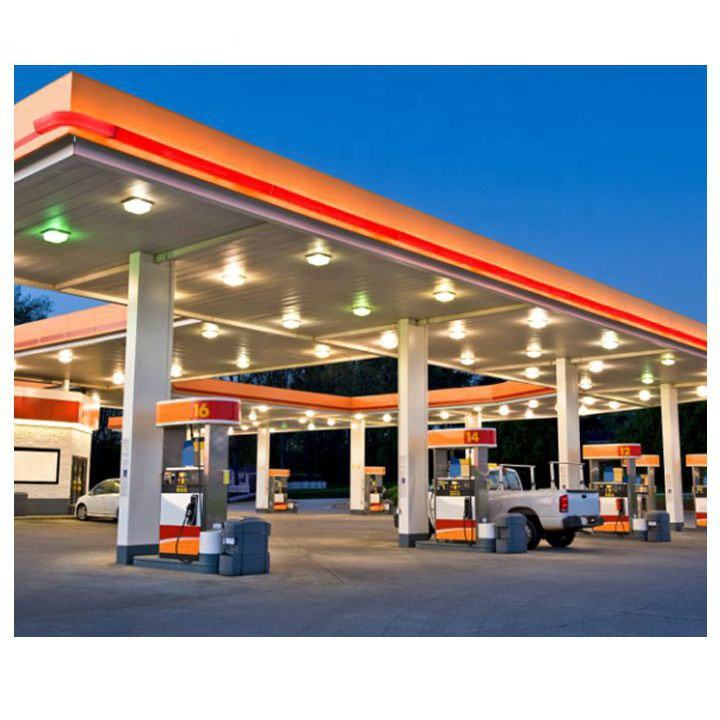 Design Petrol Gas Station Steel Construction Roof Canopy