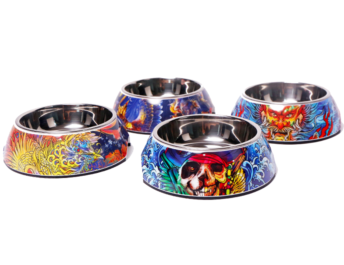 High Quality Pet Dog Cat Classic Round Stainless Steel Bowl And Melamine Bowl Holder With Cartoon Pattern Design