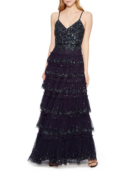 Summer Sexy Tiered Sequin Embroidery Tulle Sling V-neck Sleeveless Long Party Gown Dress