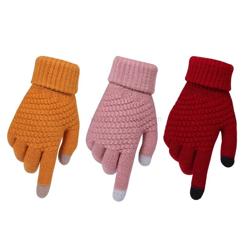 Cute lovely girls women style new cashmere brushed knitted gloves lady jacquard touch screen gloves keep warm winter gloves