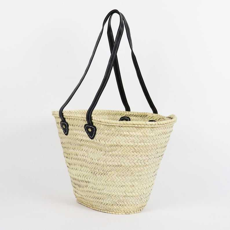 Lisbon Straw Market Basket bag with Flat Leather Handles