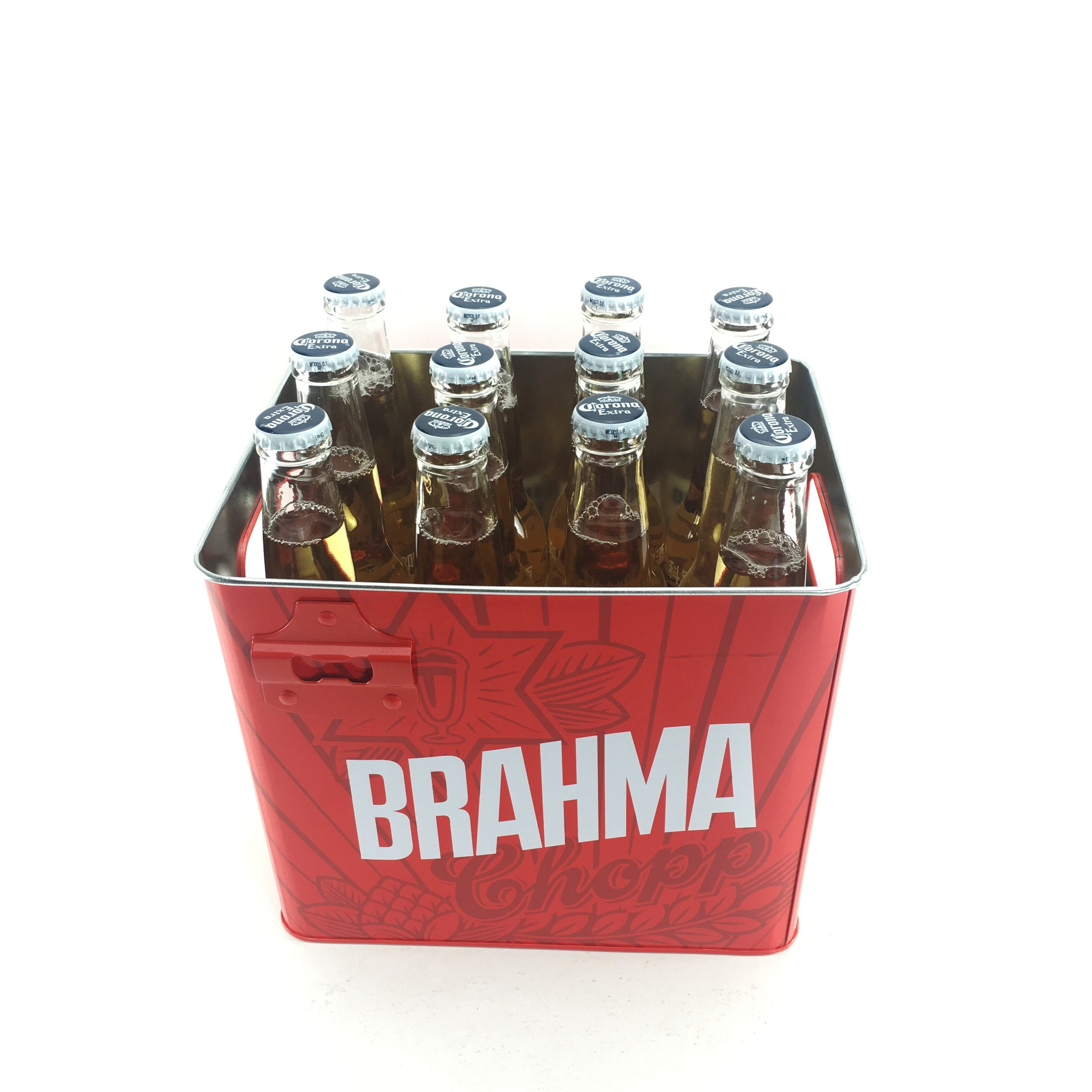 Custom Stock 10L Round Metal Galvanized Ice Bucket with Bottle Opener and Handle for 12 Bottles of Beer Champagne