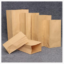 Custom baked bread bag square bottom Snack food no window kraft paper bag saving environment