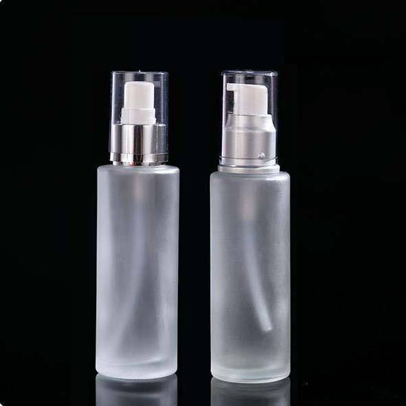 30ml 50ml 60ml 100ml glass frosted cosmetic spray bottle fine mist perfume Flat shoulder bottle with silver spray head