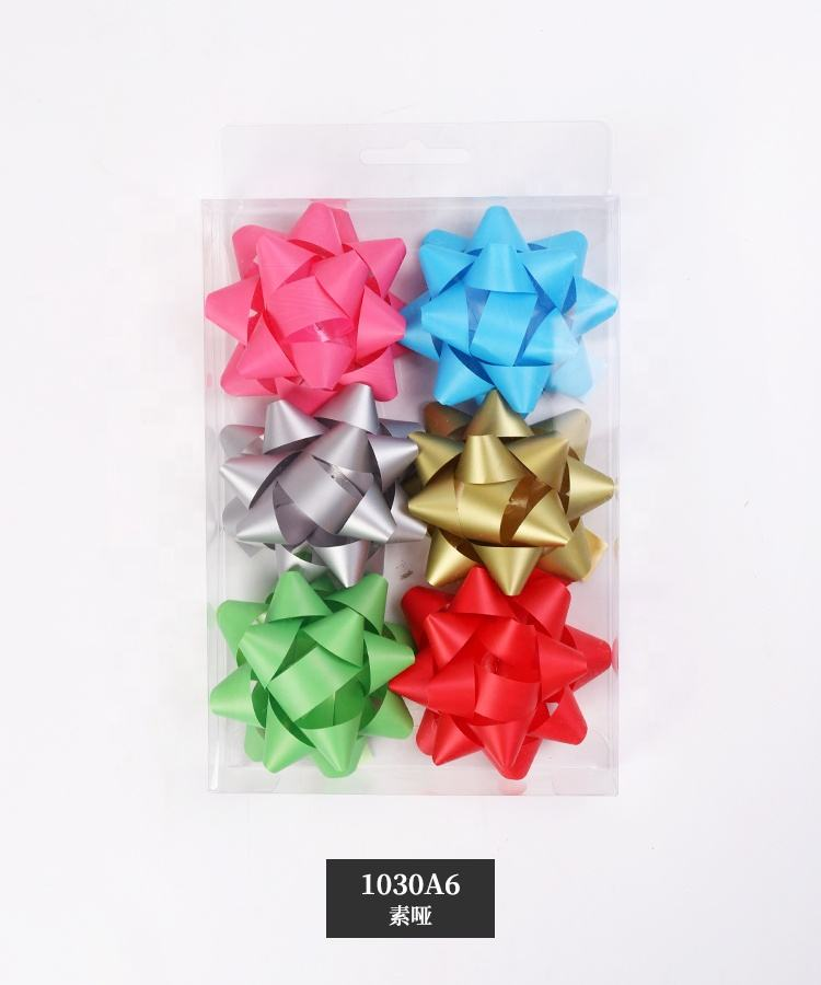 Simple Design Eco-Friendly Material Plastic Christmas Gift Bows Star Ribbon Bow Gift Bow