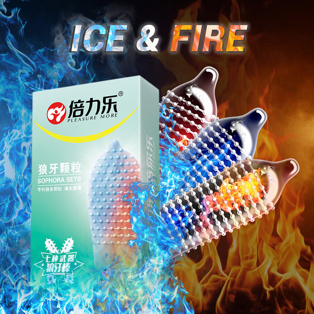 FreeShipping 10PCs Fire Ice Spike Condom Large Extra Dots Orgasm G-Spot Massage Penis Sleeve für Sex Studs Funny Condoms For Men
