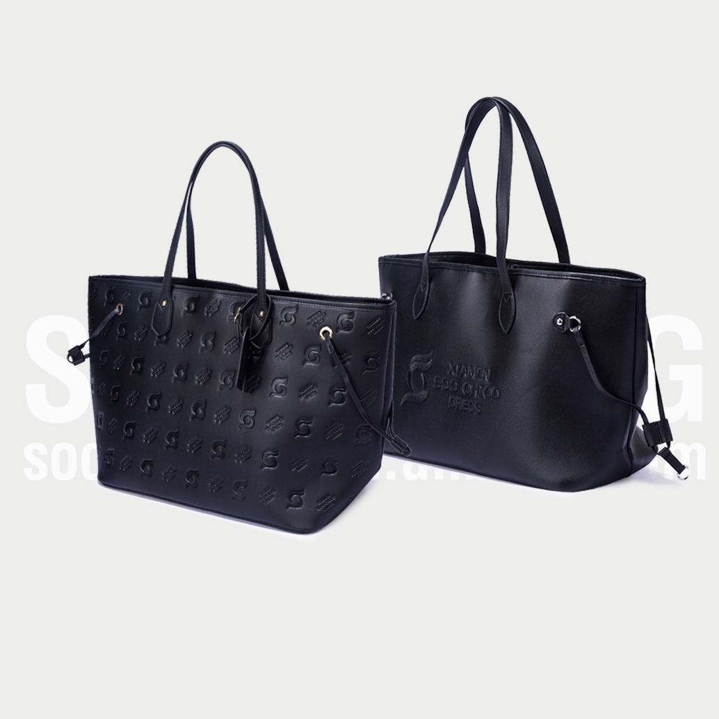 Custom high quality black tote hand bags,PU leather tote bags for women,monogram tote leather bags