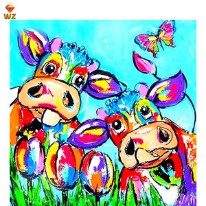 Fezrgea Wholesale Full Drill Diy Diamond Painting Colorful Animal Cow 5d Diy Diamond Painting Kits For Living Room 40x40cm