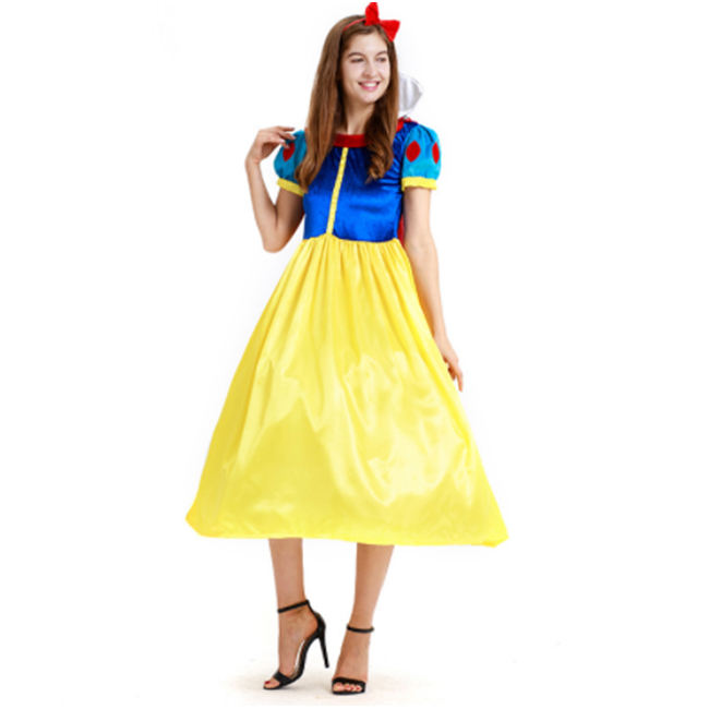 Cheap High Quality Long Adult Snow White Cosplay Costume For Women