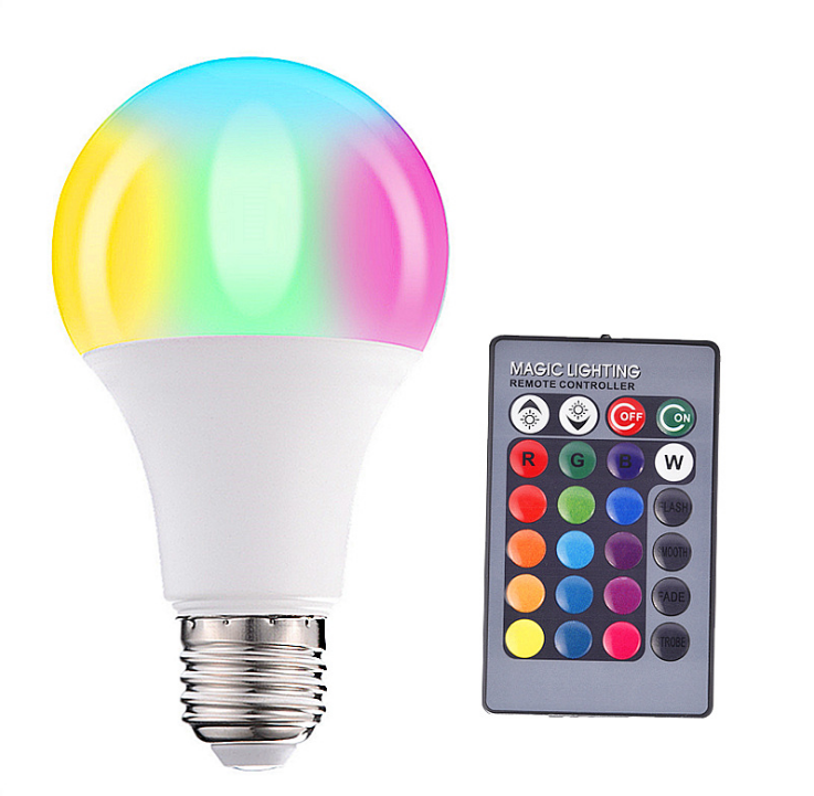 RGB Color Changing LED Light Bulbs with Remote, Dimmable 5W E26 E27 Screw Base for Home Decor, Bedroom, Stage, Party and More