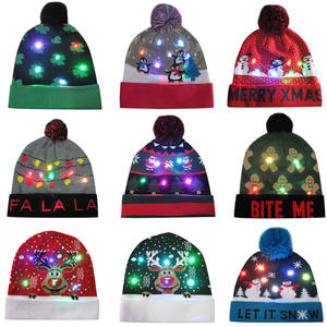 New arrivals acrylic knitted led beanie winter hat christmas led light winter hats