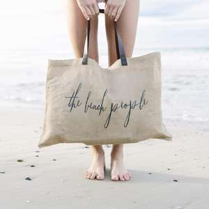 Eco friendly fashion custom printed logo burlap jute beach tote bag with leather handle