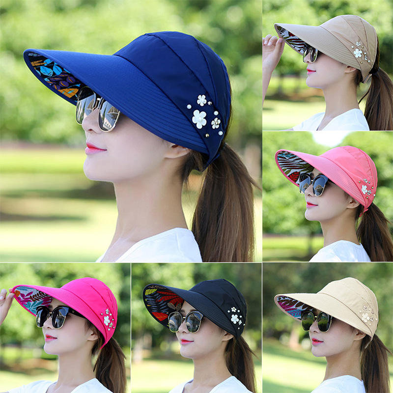 Sun HatsためWomen Visor Fishing Fisher Beach Hat UV Protection Cap Casual Women Summer Caps Ponytail Wide Brim Hat